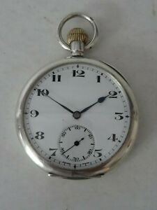 SOLID SILVER .925 OPEN FACE POCKET WATCH CHESTER 1920 WORKING ORDER