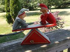 VTG.CHRISTMAS PIXIE ELVES KNEE HUGGERS ON A TEETER TOTTER MUSIC BOX Jingle Bells