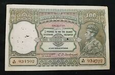 British India - 100 Rupees - Kgvi - 1943 - Large Note - C.D.Deshmukh - Calcutta