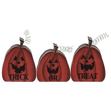 Trick or Treat Set of 3 Wood Pumpkins Halloween Fall Country