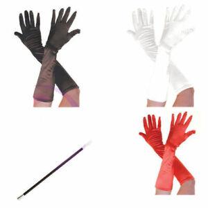 Long Satin Black Red Gloves Cigarette Holder Boa 80s 90s Halloween Dress Costume