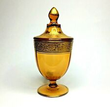 Vtg Amber Depression Glass Candy Jar w/ Lid Apothecary Embossed Ornate Gold Band
