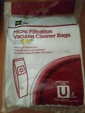 New Pack Of 2 Genuine Dirt Devil Vacuum Cleaner Bags Type  U Micro Filtration c4