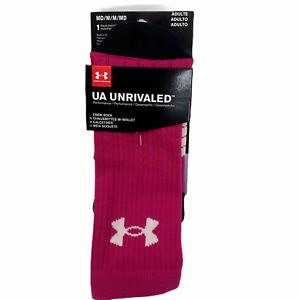 Under Armour Women Performance Socks Unrivaled Med Mid Calf Pink Sports Set of 2