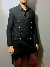 Double Breasted Button Embellished Men's Coat - Balmain