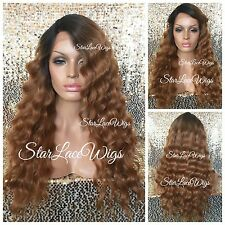 Strawberry Blonde Auburn Dark Root Lace Front Wig Body Wave Heat Safe Ok #27 #30