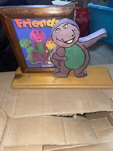 "Handmade Barney the Dinosaur Wooden Display 5x7 Photo Display ~ 17"" Baby Bop BJ"