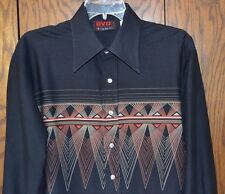 Vintage BVD XKE Sports Shirt Black Long Sleeve Men's    - Size Large