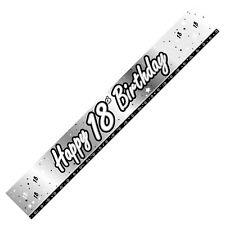 9ft SILVER & WHITE  FOIL BIRTHDAY  BANNERS