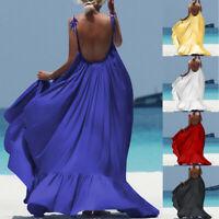 Women Bohemian Solid Sleeveless Backless Long Dress Evening Party Beach Sundress