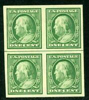 USA 1908 Franklin 1¢ Imperf Flat Plate DL Wmk Scott 343 MNH Block K332