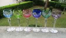 Six anciens verres à Roemer en cristal doublé St Saint Louis Baccarat ou Bohême.