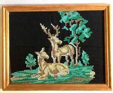 "Deer Cross Stitch Picture 14"" Complete Framed Vtg Mid Century Under Glass"