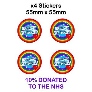 4 x THANK YOU KEY WORKERS Stickers 55mm waterproof vinyl signs window, Car, Taxi