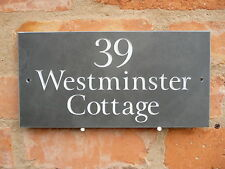 FANTASTIC QUALITY SLATE HOUSE SIGNS 300 X 150MM ANY NAME / NUMBER GOLD LETTERS