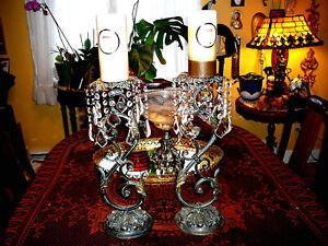 "Splendide Antique Candelabra/REPLICA after France XIXth, 19""x12"", Metal &Crystal"