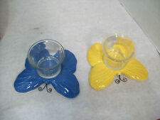 Set of Two Butterfly Votive, Tealight Candle Holders, Free Shipping S3