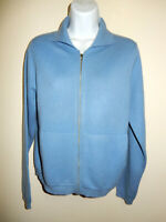 NEIMAN MARCUS 100% CASHMERE BLUE COLLARED ZIPPED 2 POCKETS CARDIGAN SWEATER S/M