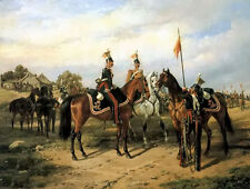 Art Oil painting karl friedrich schulz - meeting of russian ulanen and dragoon