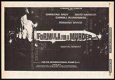 FORMULA FOR A MURDER__Original 1985 Trade Print AD / poster__ALBERTO DE MARTINO