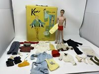 Vintage Original Flocked Ken Doll With Case of Clothing Japan Ken Lot 1960s
