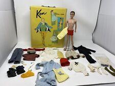 Vintage Original Flocked Ken Doll With Case of Clothing Japan Ken Lot 1960s