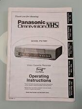 PANASONIC VIDEO CASSETTE RECORDER ORIGINAL OPERATING INSTRUCTIONS MANUAL PV-7451