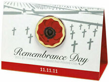 2011 $5 11.11.11 Remembrance Day Red Poppy Coin on Card