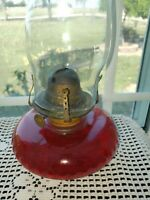 "Vintage Oil Lamp RedBase 12"" tall"