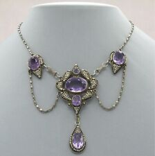 Vtg Antique Arts & Crafts Sterling Silver Amethyst Seed Pearl Festoon Necklace