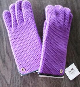 $98 COACH PURPLE 83892 100% CASHMERE Leather Trim Knit GLOVES Size M/L
