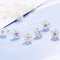 Women Fashion Jewelry 925 Sterling Silver Crystal Cherry Blossoms Stud Earrings