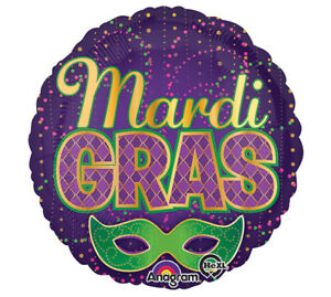 MARDI GRAS New Orleans Mask CONFETTI  Celebrate Dance Birthday Party Balloon