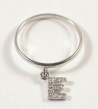 Anello con iniziale lettera charms Oro bianco Diamanti -Confezione regalo gratis
