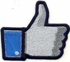 Simpatica toppa ricamata patch termoadesiva Facebook MI PIACE cm. 7,5 x 6,5