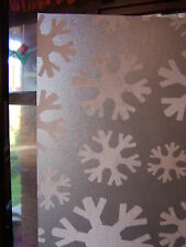 SNOWFLAKE CHRISTMAS FROSTY FROSTED GLASS STATIC CLING WINDOW COVERING 1m X 45cm