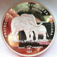Equatorial Guinea 1995 Elephant 5oz 7000 Francs Silver Coin,Proof-C