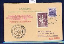 51417) KLM Polar FF Amsterdam - Tokio 1.11.58, Canada raply card via Brüssel