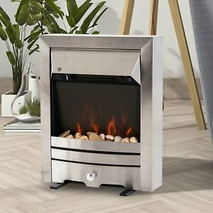 2KW Stainless Steel LED Flame Electric Fireplace Pebble Burning Effect Heater