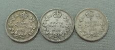 3  X  Small Five Cent Canada Coins  -  1906 - 1907 - 1908