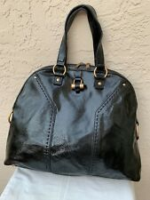 YVES SAINT LAURENT YSL OVERSIZE BLACK PATENT MUSE DOME BAG