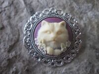KITTY CAT CAMEO BROOCH / PIN - (CREAM/PURPLE) - CAT LOVER GIFT - CAT COLLECTOR
