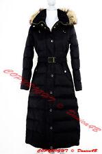 $425 Michael Kors Hooded Fur-Trim Belted Down Maxi Puffer Coat PM Black