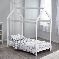 White Wooden Toddler Bed with House Shaped Frame Kids Nursery