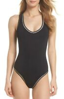 Womens La Blanca Threading Crossback One Piece Swimsuit Sz. 14 (black) 150311
