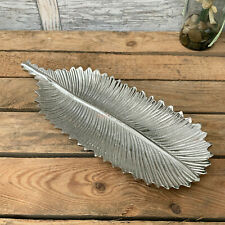 Vintage Metal Silver Feather Jewellery Trinket Dish Decorative Plate Tray Gift