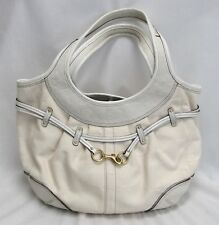 Coach Hobo Bag Monogram Logo Pattern Canvas Leather Trims White Ivory Buckle