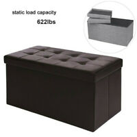 End of Bed Storage Bench Foldable Collapsible Organizer Bedroom Ottoman Box