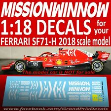 1/18 scale F1 MISSION WINNOW 2018 water slide DECALS for Bburago