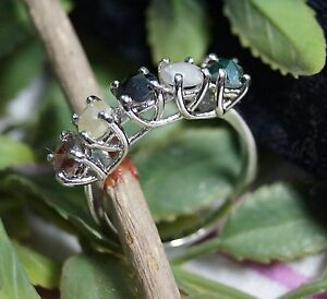 3.5mm Each Natural fancy color Rose Cut diamond ring, 5 diamond 925 silver Ring